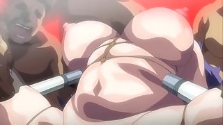 Busty and curvy anime slut played with by many guys