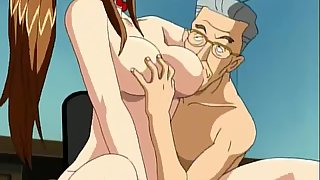 Busty Anime Girl Giving Rimjob to Two Mature Cocks