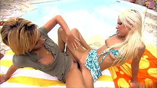 Skinny lesbian babes using toys and tribbing outdoors