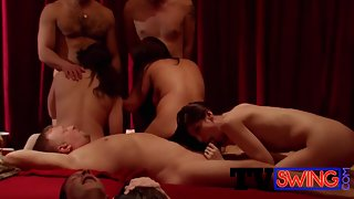 Beautiful Swingers in Group Sex Having Gives Awesome Blowjob