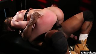 Maddy Oreilly in Fishnet Gets Hard Hammered by Wild Bald Fucker