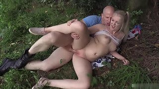 Curvy pale blonde gets rammed hard outdoors