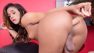 Young Tgirl Felipa Lins Fucking her Asshole with Dildo First Time