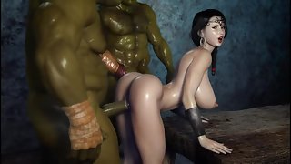 Orcs Nail Deep Into a Hot Human Babe and Take Turns