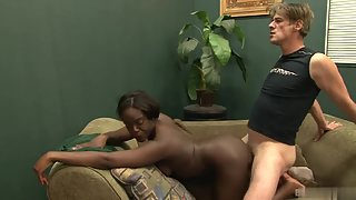 Big ass ebony babe fucked deep by a white dick