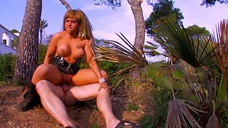 Alluring blonde babe with big tits gets banged outdoor in her wet pussy
