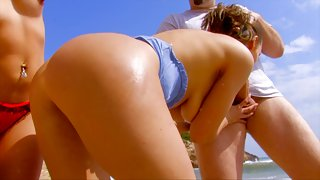Outdoor threesome smash for two brunette teen chicks