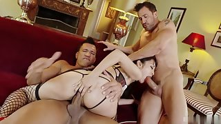 Skinny Brunette Marica Hase Gets Deep Throated by Two Tough Pricks
