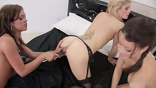 Small boobs lesbians stripping and playing with dildos