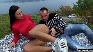 Dazzling Brunette Chick Tugging and Sucking Solid Prick Outdoors