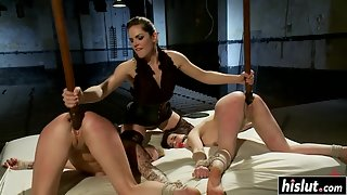 Two Lovely Blonde Girls Got Tied Up and Fucked by a Mistress with Strap on
