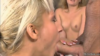 Busty Blonde Cougar with Smiling Face Gambols Fleshy Pecker
