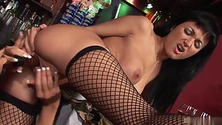 Black haired sizzling hot babes love playing with toys
