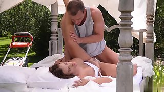 Busty Babe Deeply Rammed by Her Man after Cock Sucking Outdoor