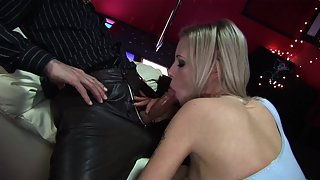 Blonde babe in blue fishnets gets fucked in the club