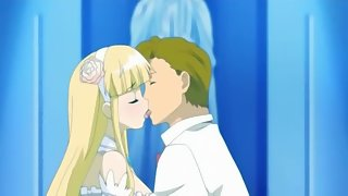 Blonde anime babe swallows a load of cum