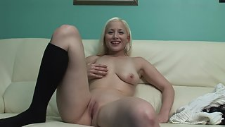 Passionate Blonde Harlot Reveals Shaved Pink Fanny