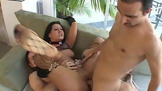 Passionate Brunette Slut Teasing and Getting Gangbanged