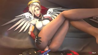 Horny busty babes from Overwatch get slammed hard in their pussies