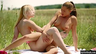 Skinny Lesbian Babes Enjoy Outdoors Finger Poking