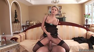 Blonde Ashlynn Brooke takes black schlong from behind