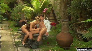 Leggy Blonde Syvette Enjoys Fervent Oral and Fingering with Orgasm