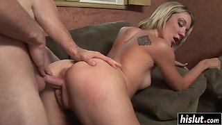 Skinny Blonde Teen Gets her Sweet Cunt Fucked from Behind