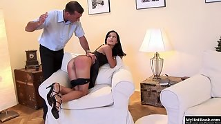 Brunette Missy Nicole gets ass spanked and dominated from her horny punisher