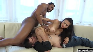 Busty brunette babe fucked and licked by two guys