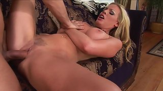 Dazzling Blonde Slut Swallows and Jerks Giant Fat Schlong