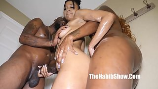 Threesome black action with two sexy ebony chicks