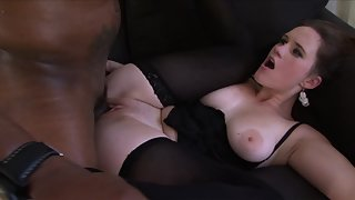Stockings Wearing Babe Deepthroats and Fucks Her Partners Big Black Cock