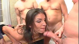 Young Brunette Gets Deep Fuck and Cumshots in Group Sex