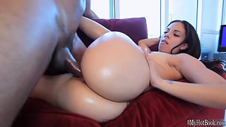 Brunette Coco Valentina in Shorts Pounded by Black Fucker