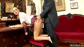 Ponytail Redhead Lyen Parker Gets Banged by Her Head Master