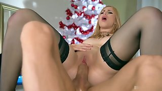 Stockings Wearing Blonde Slut with Stimulation Having Oral Sex