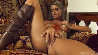 Amazing slut Nessa Devil jams a hard dildo in her twat