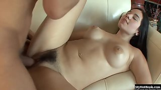 Nadine Sage fucked hard in her hairy pussy