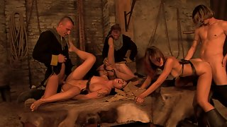 Orgy in the secret room with hot and sexy natural-looking girls