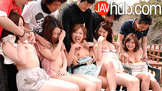 Shy Japanese Teens Engage in a Groupsex Outdoors