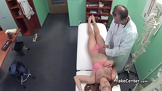 Young brunette makes her appointment and her doctors nails her deep