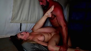 Horny big tits brunette chick fucks hard with her fucker