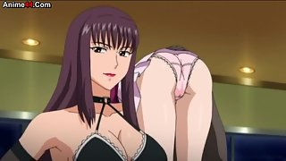 Hot busty anime babes in lingerie getting ready to fuck
