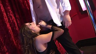 Brunette babe with big boobs gets slammed in the strip club