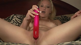 Blonde Amateur Fucking her Shaved Pussy with a Long Dildo