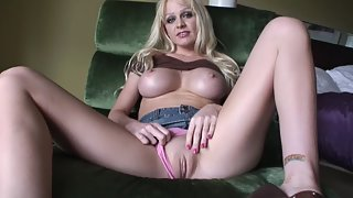 Buxom Blonde Lady Teasing on Webcam with Pleasure