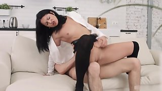 Skinny dark haired babe gets licked and fucked hard