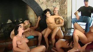 Cock hungry vixens fucked hard on the orgy party