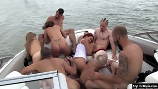 Kathy Rose, Kendra White, Kylee King, and Alyson Queen have group sex on a yacht
