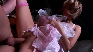 Amazing babes in pink stockings gets pussy banged